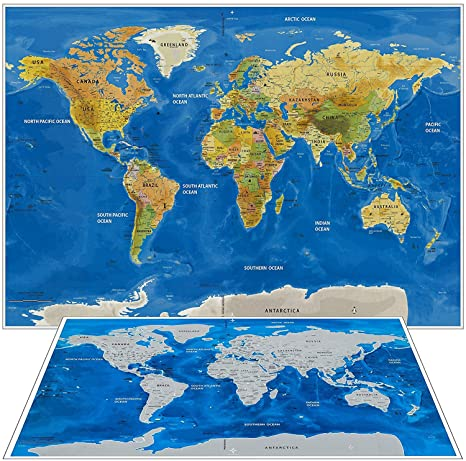 Amazon scratch off world map wall poster with us states scratch off world map wall poster with us states includes detailed map with 252 countries gumiabroncs Image collections