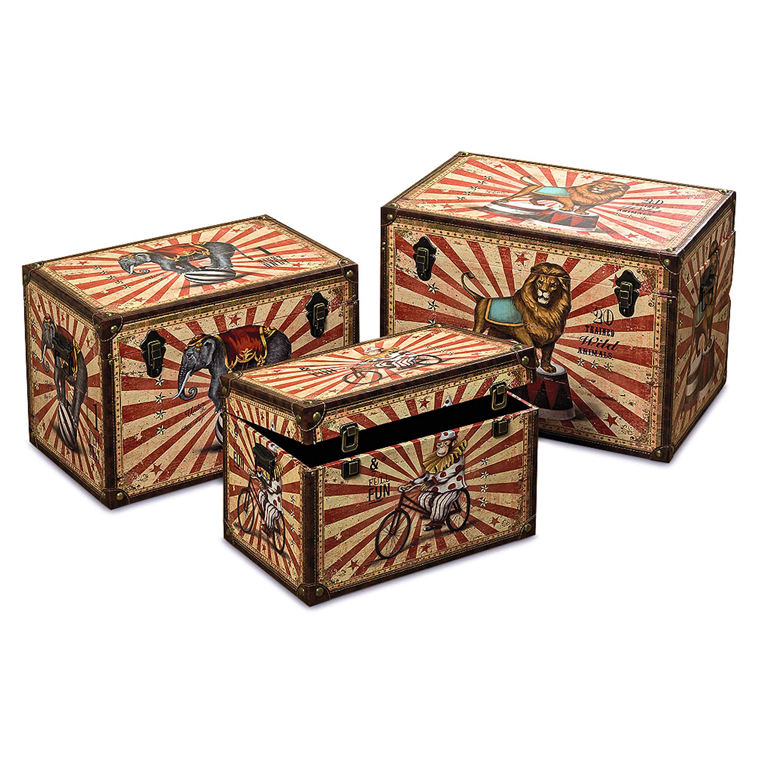 Whole House Worlds The Big Top Circus Animal Travel Trunk Chests, Set of 3, Decorative Storage Boxes, Various Sizes, Faux Leather, Studs, Wood, Lined, Brass Hardware, Various Sizes, By by Whole House Worlds