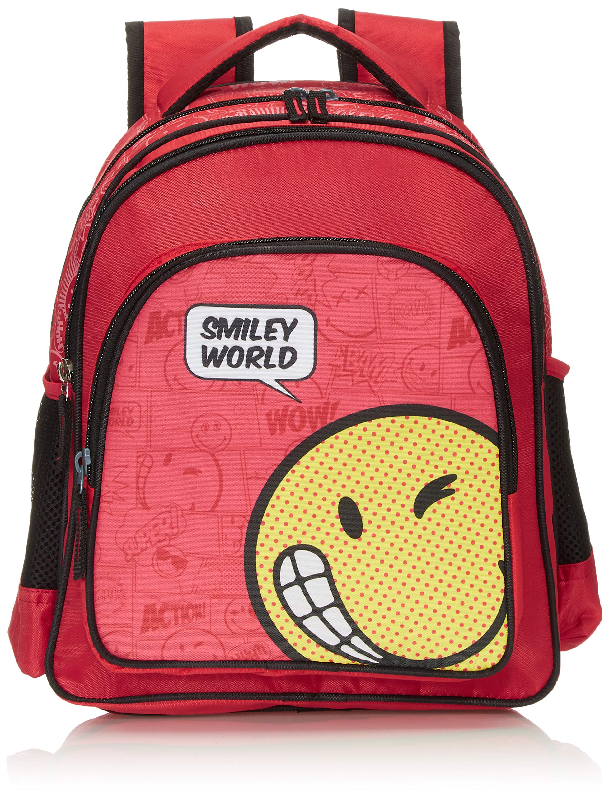 SMILEY Polyester 27 cms Red  Black School Backpack (IBTS-5525)