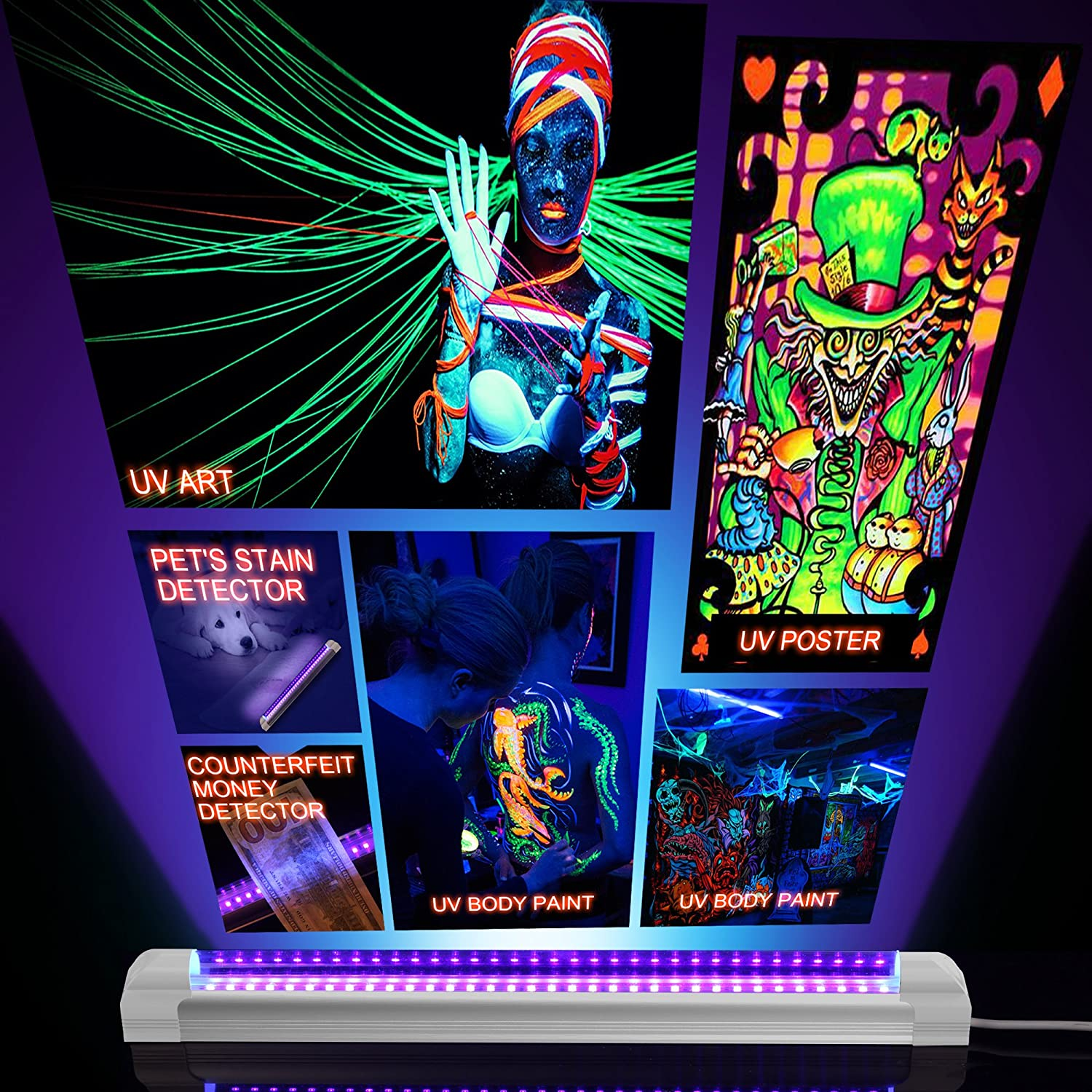 UV Art Ultraviolet Curing KAIKING Heavy Duty 6W Portable USB Blacklight for UV Poster Upgrade Authentication Currency Stain Detector Or Home Party UV LED Black Light Fixture 4 Pack