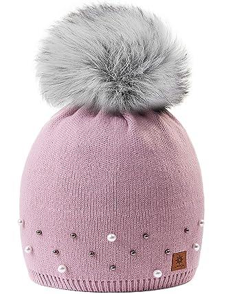ce2f34de1fa MFAZ Morefaz Ltd Girls Winter Beanie Hat Knitted Hats Girl Kids with Large  Pom Pom Ski Fleece Lining (Rose Pink Pearls 2)  Amazon.co.uk  Clothing