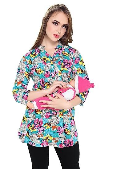 d55a280da1b Demoda Women's Cotton Printed Nursing Top with Side Zip (Multicolour, ...