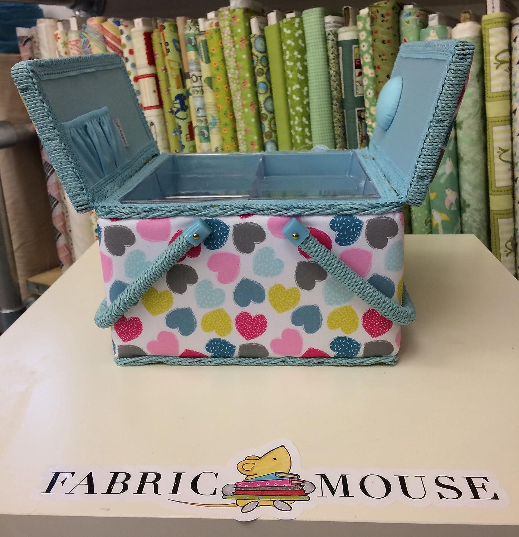 Hobbygift MRLTLE\276Boîte à Couture Grande Double Couvercle Cœurs-Rose, Bleu, Vert, 25cm x 25cm x 17cm Hobby Gift