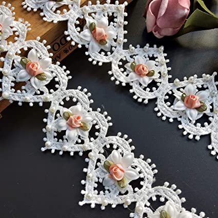 10pcs Flower Pearls Beaded Floral Lace Ribbon Edge Trim 5 cm/× 3.7 cm Width Vintage Style White Edging Trimmings Fabric Embroidered Applique Sewing Craft Wedding Bridal Dress Embellishment Clothes DIY