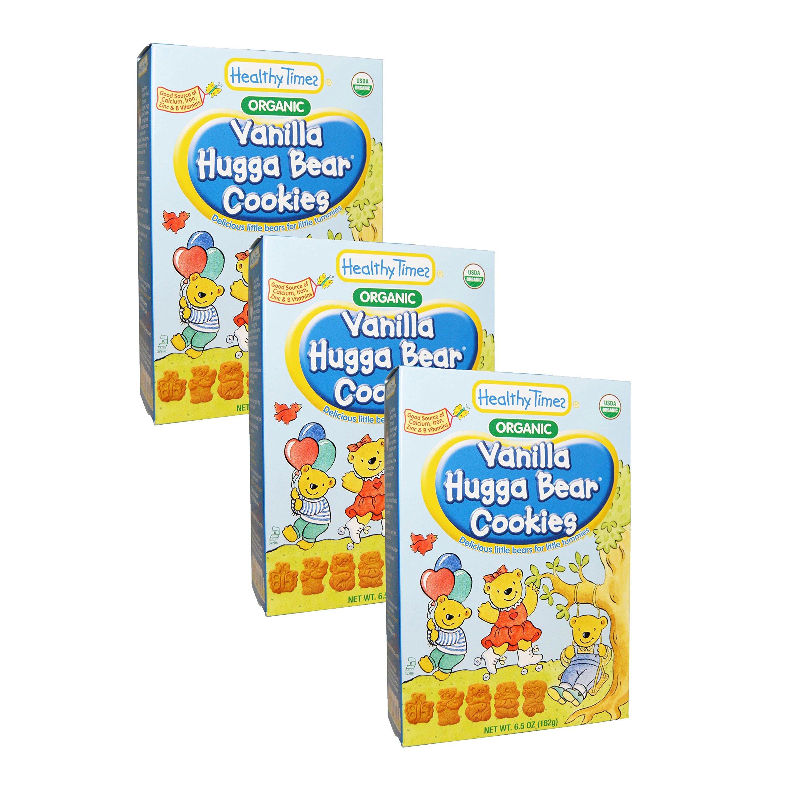 Healthy Times Organic Hugga Bear Cookies 6.5oz [3 Packs] (Vanilla)