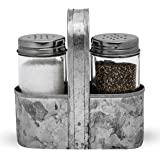 Farmhouse Salt and Pepper Shakers with Caddy Set by Saratoga Home - Rustic Vintage Galvanized Decor - Weddings…