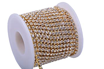 KAOYOO 1 Roll 10 Yards Crystal Rhinestone Close Chain Trim SS16//4.0mm Golden Chain with Lct Crystal Beads