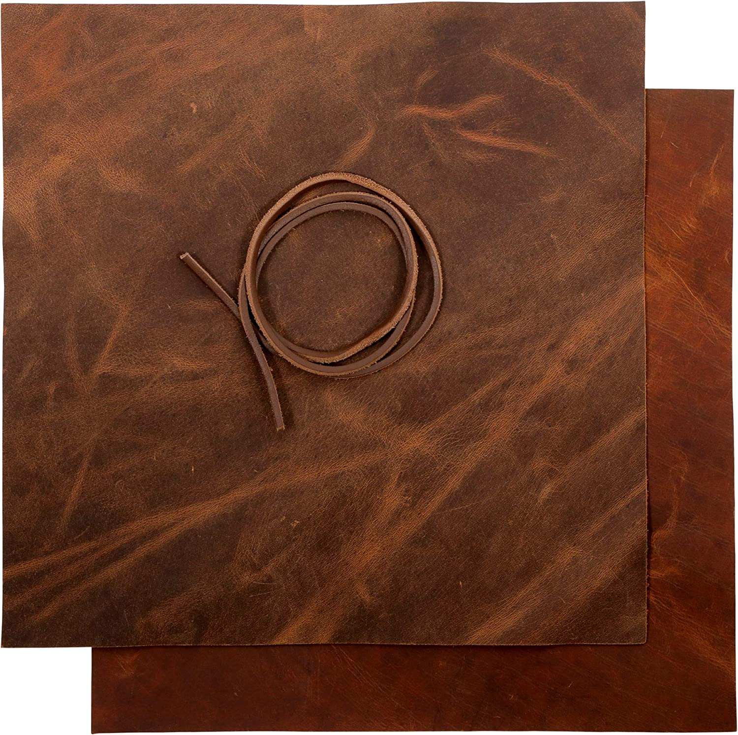 Heavy Weight Leather 9-10 oz Thick Full Grain Tooling Leather Cowhide Skin Crazy Horse Crafting Arts Real Leather Bourbon, 6x12