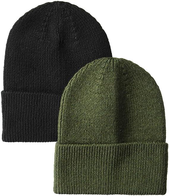 69a049bd318 Amazon.com  Amazon Essentials Men s 2-Pack Knit Beanie Hat Black ...