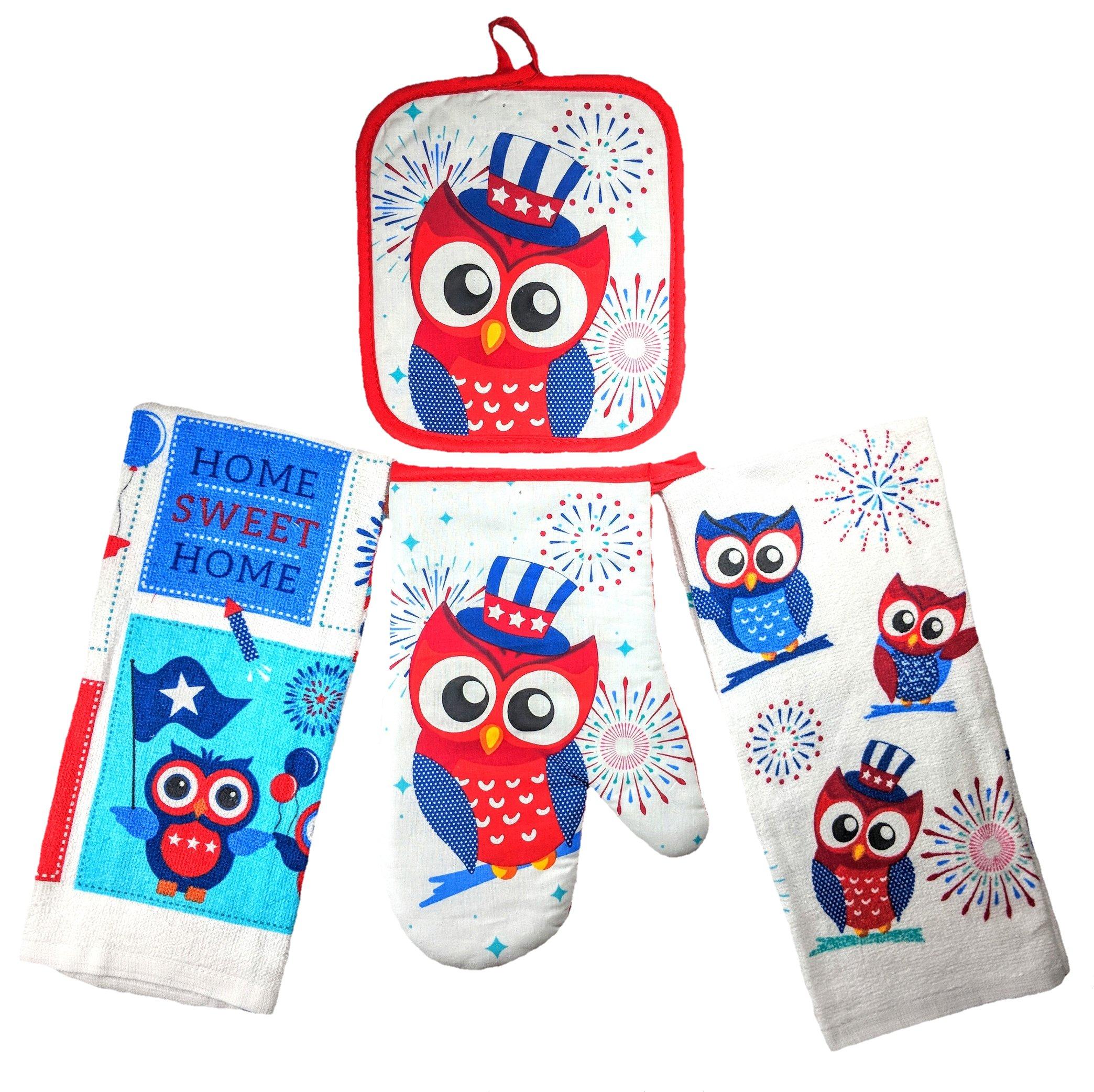 Summer Fun Products Mainstays 4 Piece Kitchen Bundle - Pot Holder, Oven Mitt, 2 Dish Towels - Fun Design (Patriotic Owl)