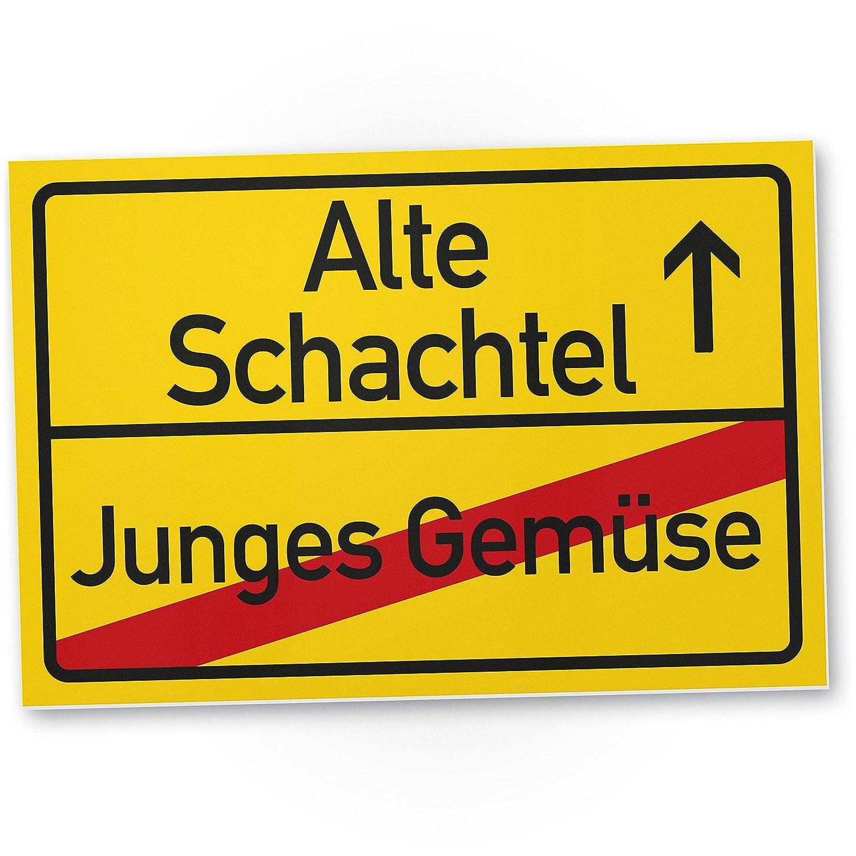 Dankedir Alte Schachtel Junges Gemuse Kunststoff Schild Gelb