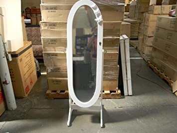 Oval Stand Mirror Jewelry Cabinet With Butterfly   WHITE