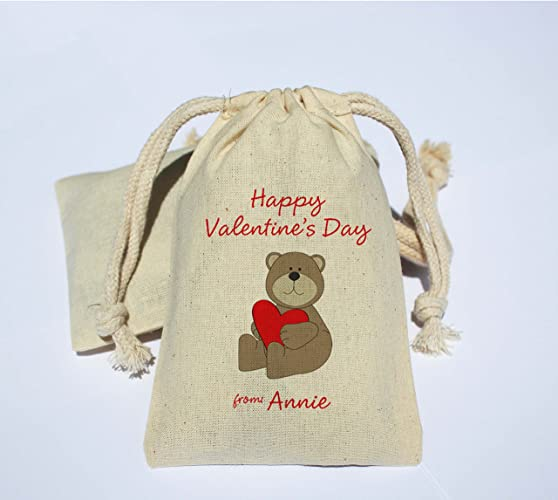 Amazon Com Teddy Bear Personalized Cotton Muslin Happy Valentine S