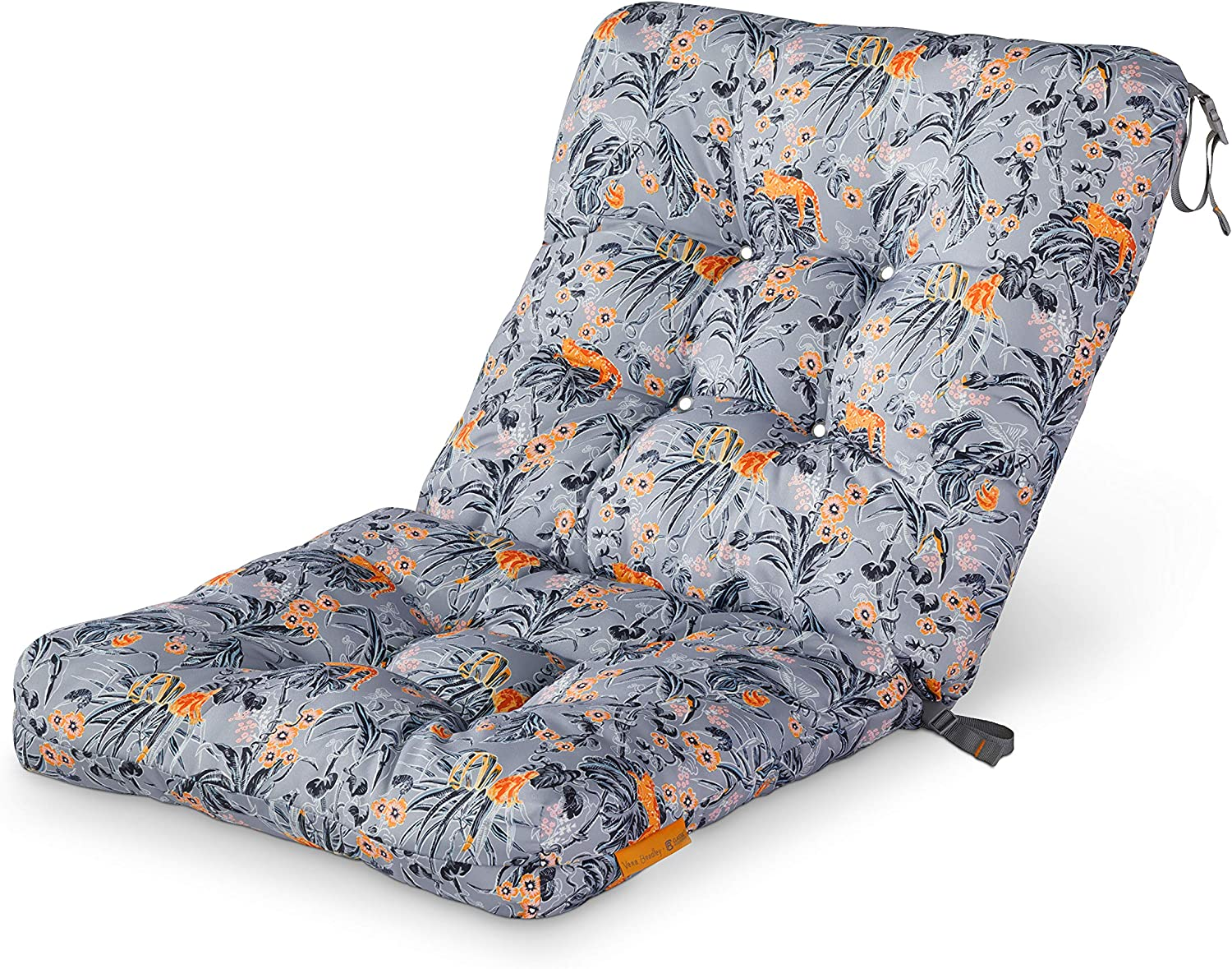 Vera Bradley by Classic Accessories Water-Resistant Patio Chair Cushion, 21 x 19 x 22.5 x 5 Inch, Rain Forest Toile Gray/Gold