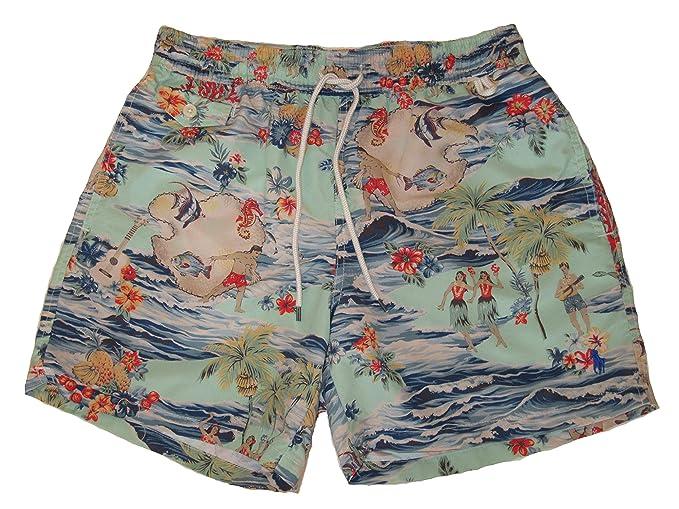 "bd1143de5643e Ralph Lauren Polo Mens Hawaiian Floral Surf Scene 5"" Swim Trunks Blue  ..."