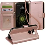 LG G5 Case, Arae [Wrist Strap] Flip Folio [Kickstand Feature] PU leather wallet case with ID&Credit Card Pockets For LG G5 (rosegold)