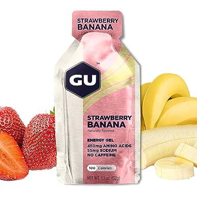 GU Energy Gel Energizante de Fresa y Plátano - Paquete de 24 x 32 gr -