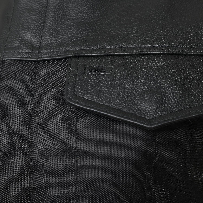 UK Stock Mens Cordura Black Real Leather Trim Biker Waistcoat//Vest