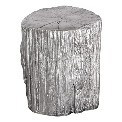 Charmant Elegant Silver Tree Stump Accent Table | Pedestal Round Faux Bois Trunk  Naturalist
