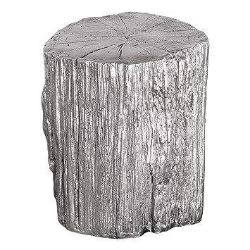 Elegant Silver Tree Stump Accent Table | Pedestal Round Faux Bois Trunk  Naturalist
