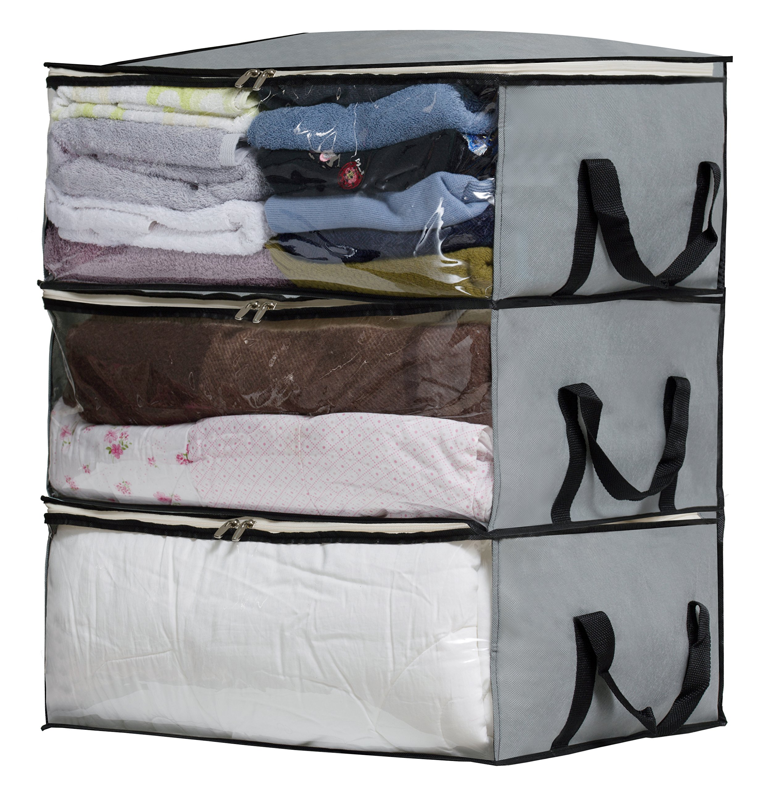 SLEEPING LAMB Foldable Comforter Storage Bag Organizers Underbed Storage Containers for Blankets, Clothes, Bedding, Closets, Under Bed, 3 Piece Set