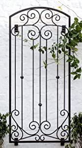 H Potter Garden Metal Wall Art or Trellis for Climbing Plants Outdoor Panel Roses Vines Privacy Includes Brackets for Hanging