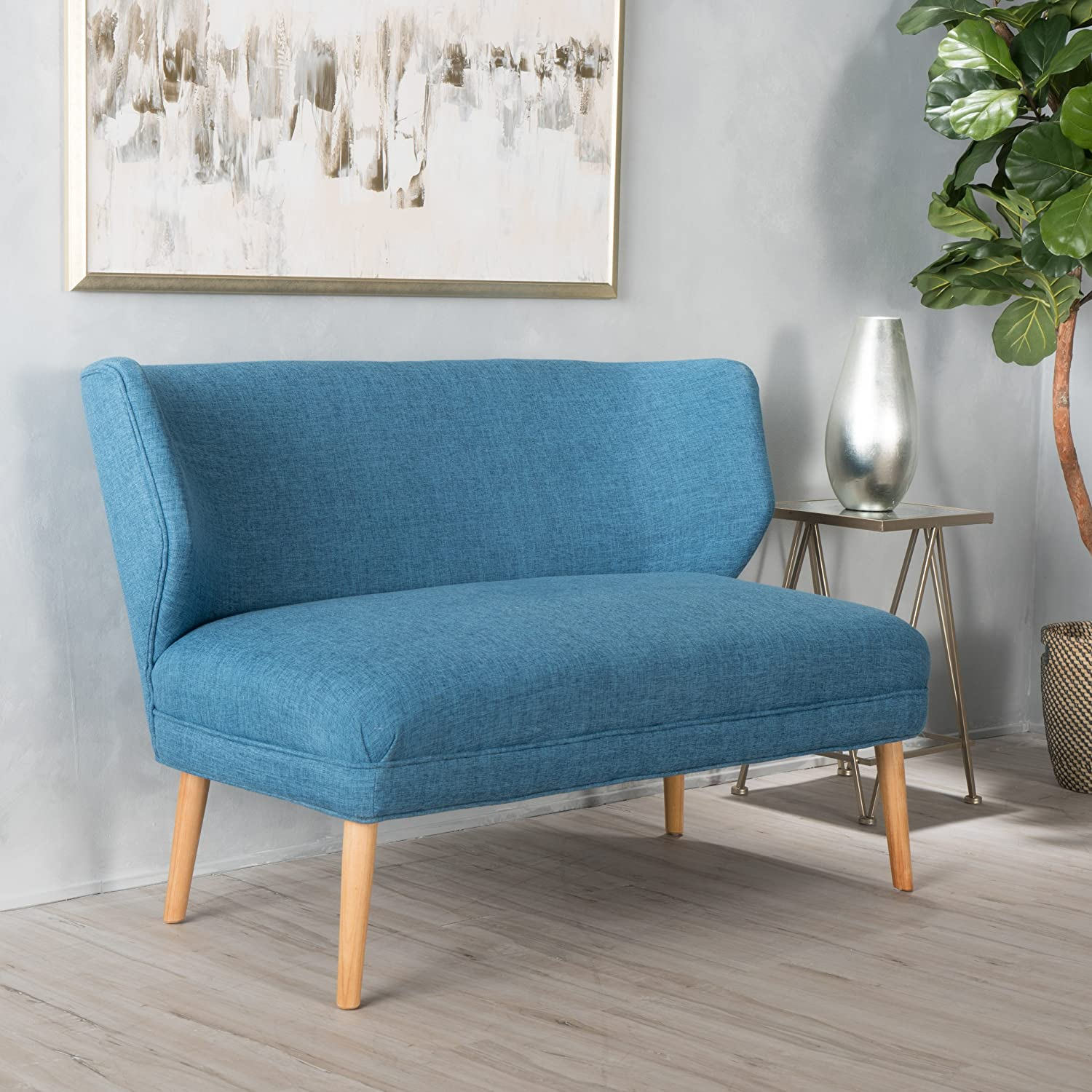 Christopher Knight Home Dumont Mid Century Modern Fabric Loveseat Sofa Settee Blue