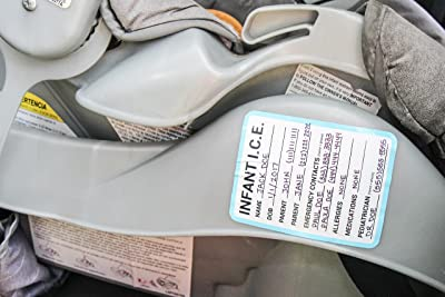 Image: INFANT I.C.E. (In Case of Emergency) Car Seat Sticker Safety Information | applied to your child's car seat for paramedics and first responders to read