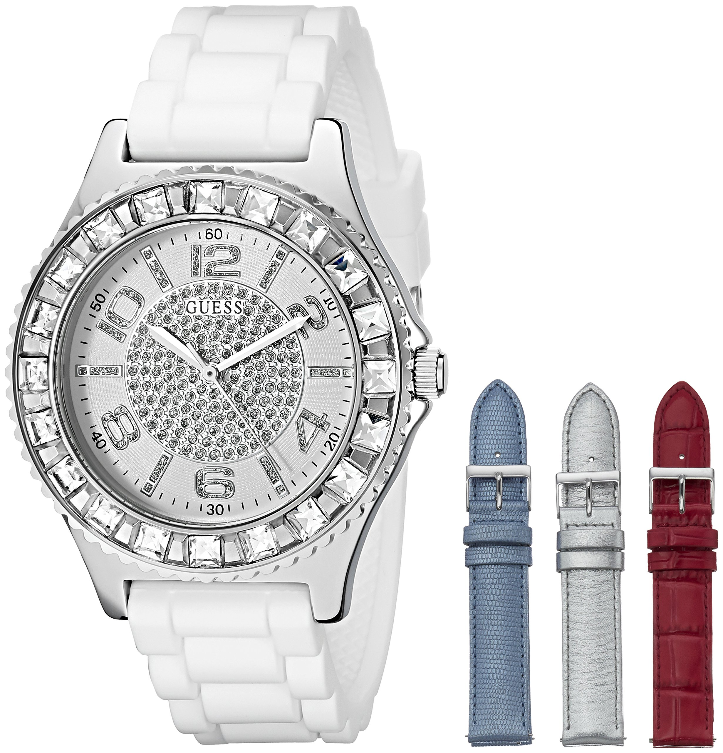 GUESS Women's U0714L1 Silver-Tone Watch Set with 4 Interchangeable Leather Straps Inside a Bonus Travel Case by GUESS