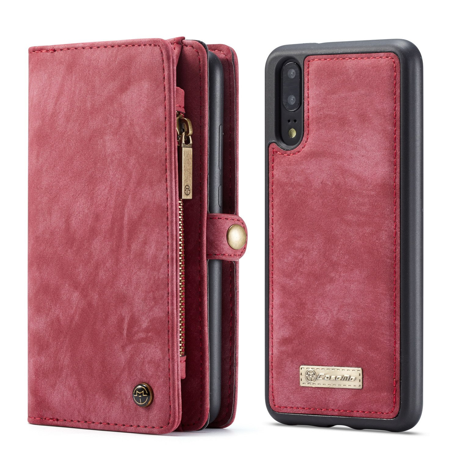 Huawei P20 Wallet,AKHVRS Ltalian Cowhide Leather Zipper Wallet Magnetic Closure Case Cover [Folio Style] with Card Slot and Removable Magnetic Back Cover for Huawei P20