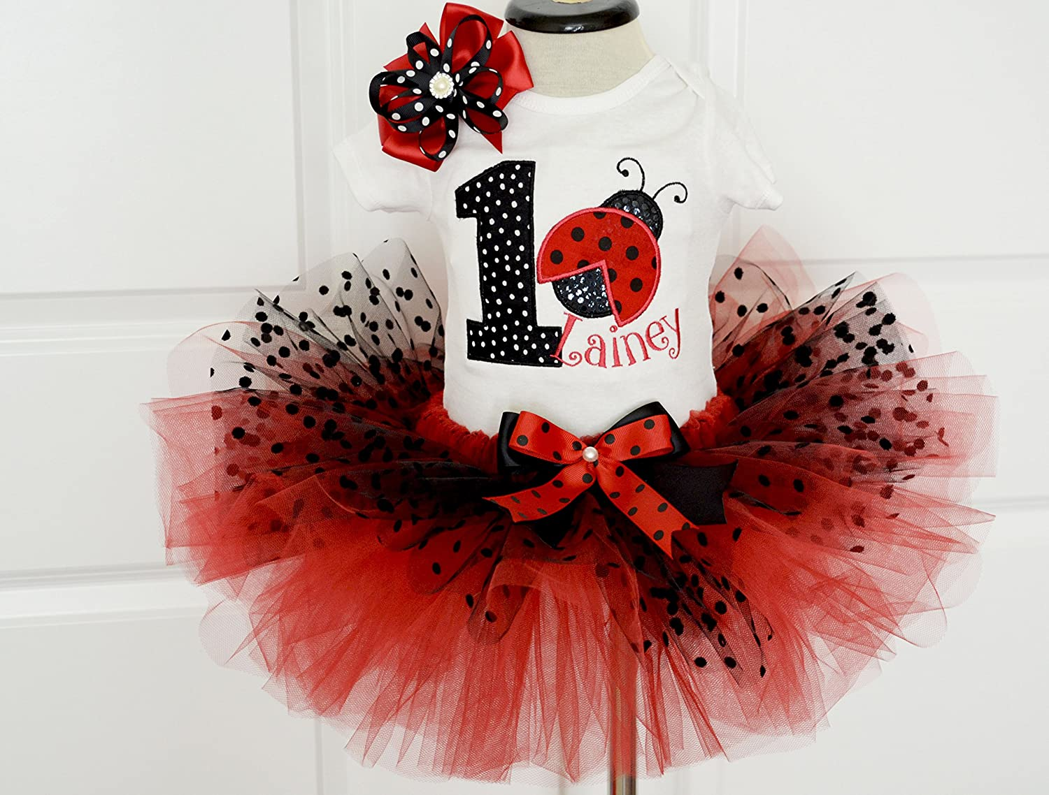 Amazon.com: first Birthday Outfit girl,Ladybug Birthday Outfit red ...