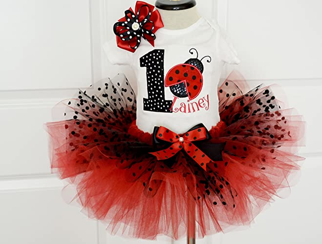 Amazon First Birthday Outfit Girlladybug Birthday Outfit Red