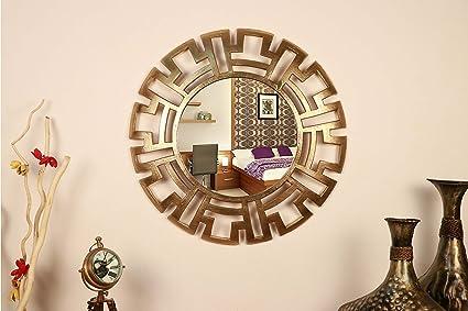 Buy Home Decor Item Golden Metal Roman Design Round Wall Mirror For