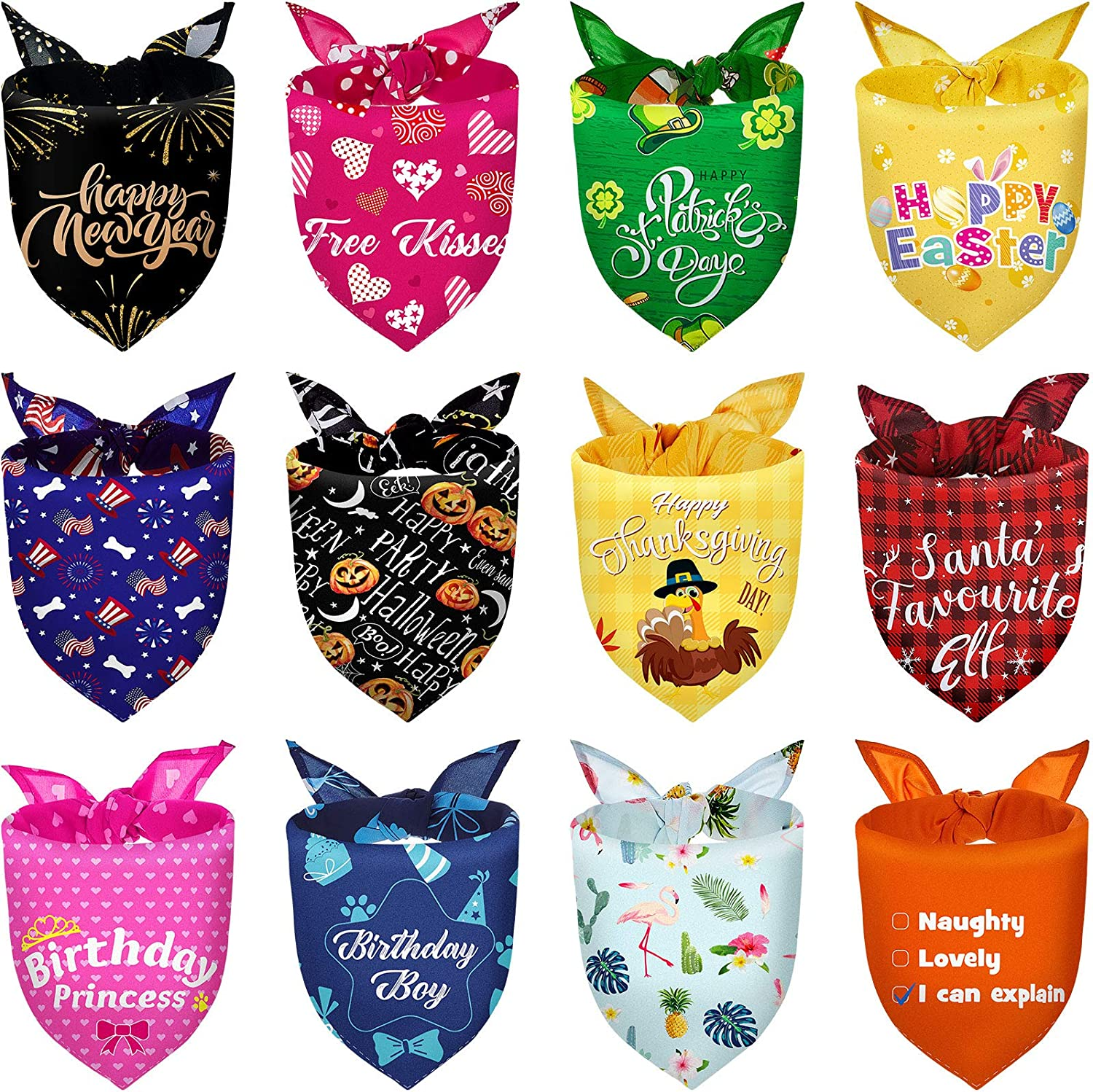 12 Pieces Holidays Dog Bandanas Birthday Pets Bibs Summer Hawaii Easter Patriotic Halloween Thanksgiving Christmas New Year Valentine's Day St.Patrick's Day Pets Bandana Scarf for Pet Costume Supply