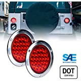 """2pc 4"""" Inch Round LED Trailer Tail Lights [DOT Certified] [Stainless Steel Chrome Bezel] [Connector Plug Included] Stop Brake Lights for Trucks RV JEEP"""