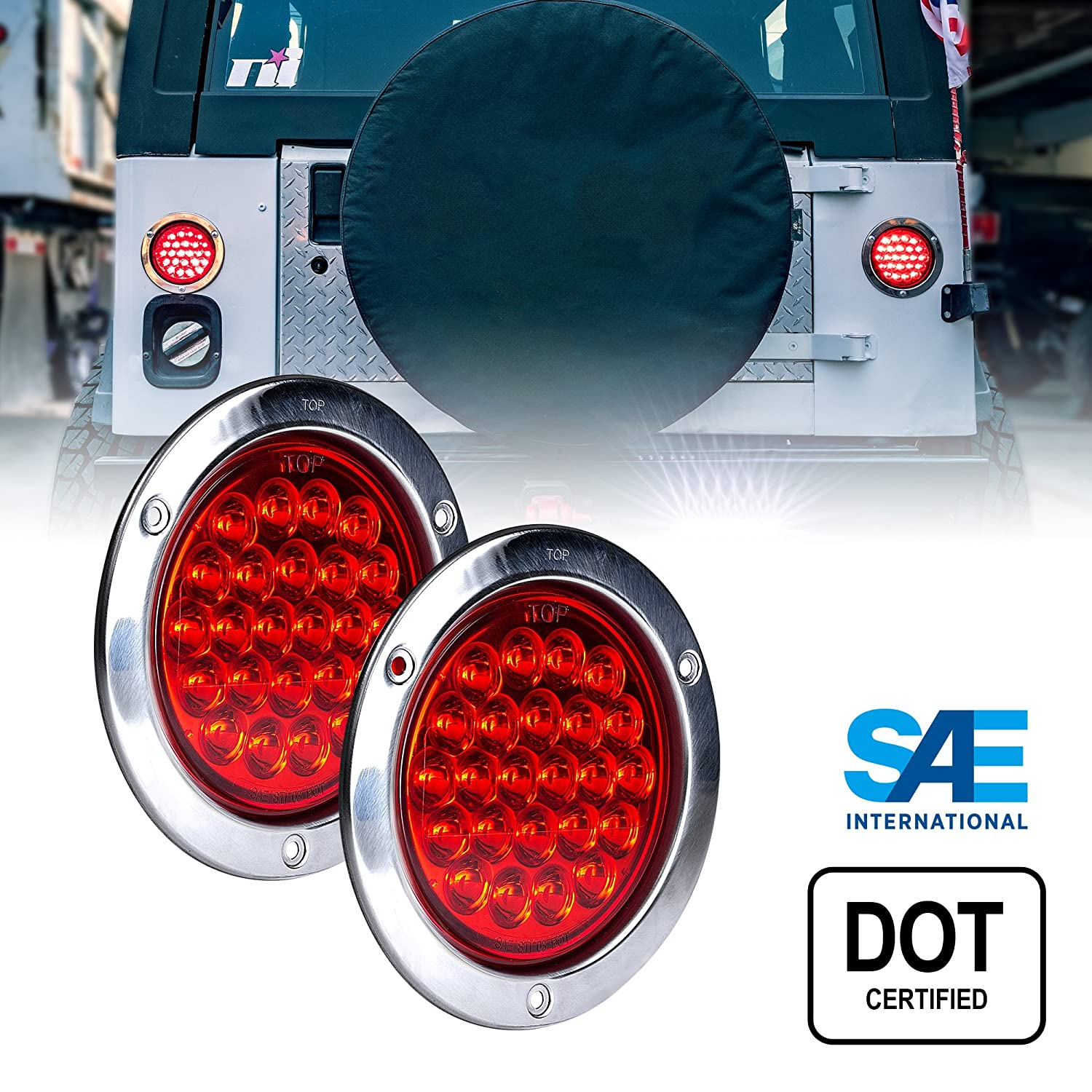 Online Led Store 2pc 4 Inch Round Trailer Tail Check For 12v At The Lg Wire Stoplamp Switch On Brake Pedal Lights Dot Certified Stainless Steel Chrome Bezel Connector Plug Included Stop