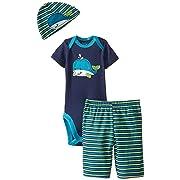 17022e0fb3d Gerber Baby-Boys Newborn 3 Piece Boy Sets Whale Bodysuit Cap and Pant