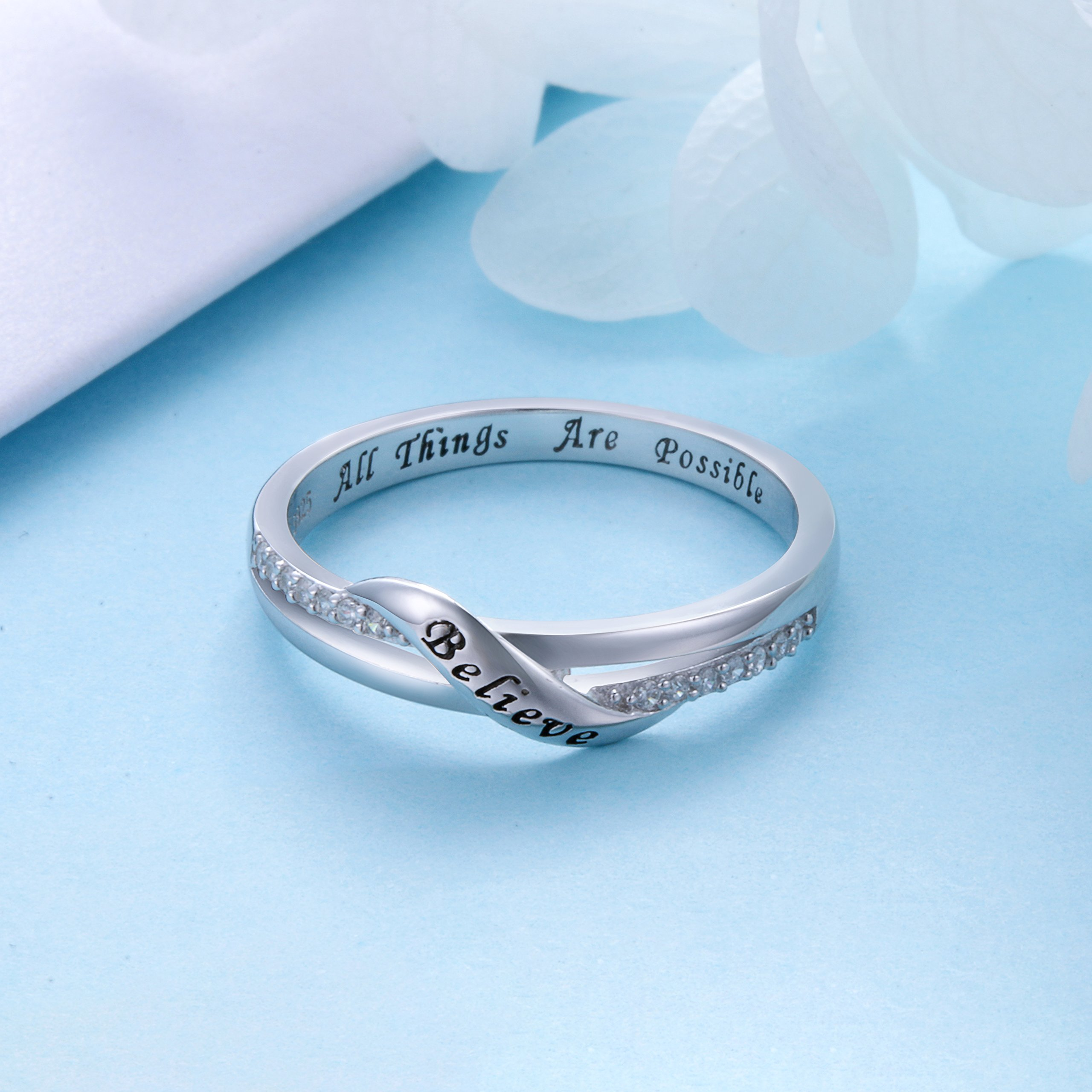 DAOCHONG Inspirational Jewelry Sterling Silver Engraved Believe All Things are Possible Band Ring for Women Girl, Size 6-8 (7) by DAOCHONG (Image #4)