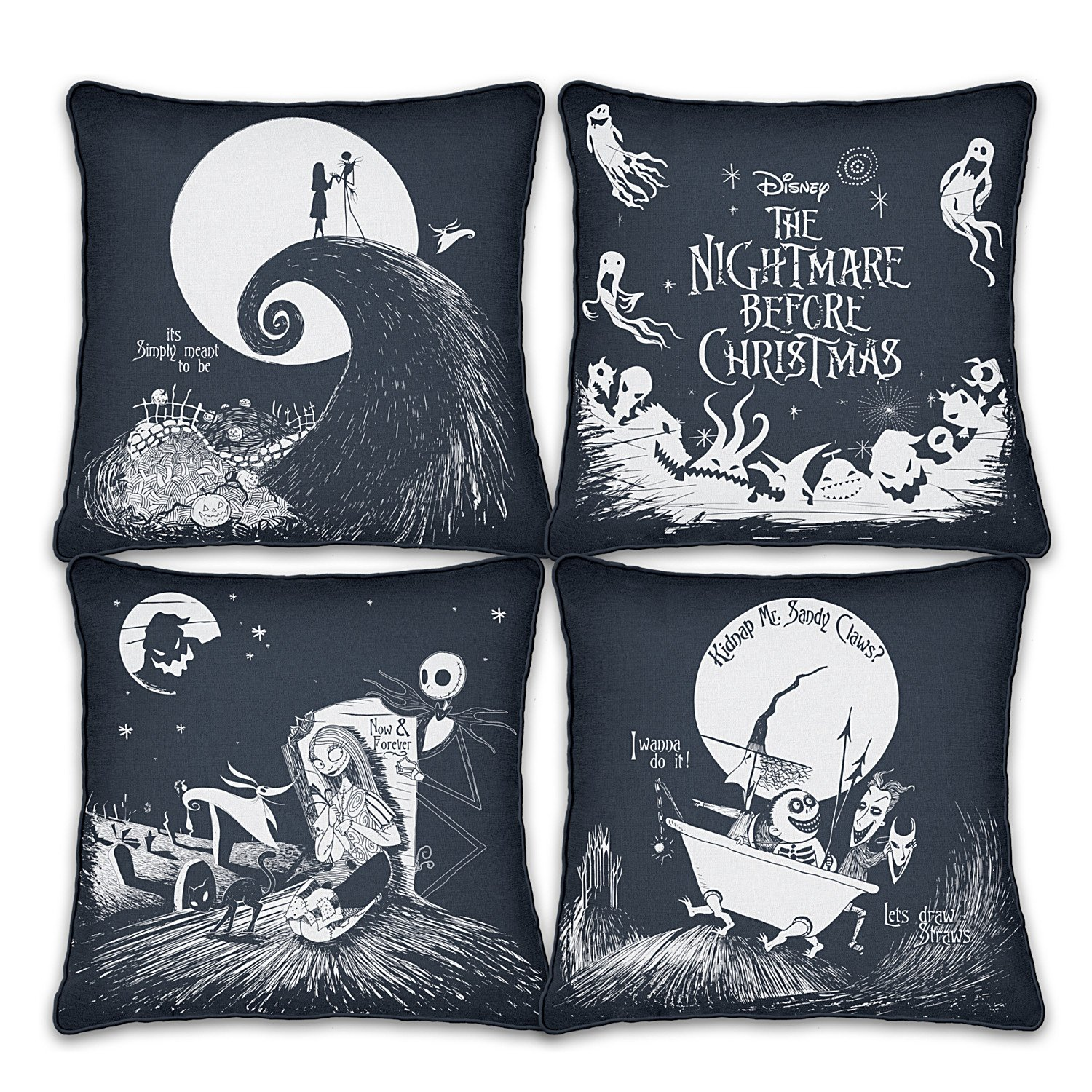 Disney Tim Burton's The Nightmare Before Christmas Black And White Pillow Set by The Bradford Exchange
