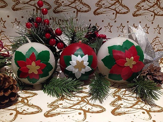 Decorare Candele Di Natale : Candela sfera con decorazione stella di natale buon natale merry