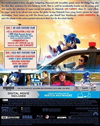 Amazon Com Sonic The Hedgehog 4k Uhd Blu Ray Digital Fowler Jeff Schwartz Ben Carrey Jim Marsden James Sumpter Tika Mcdonough Neal Howard Debs Lapp Leanne Pally Adam Watkins Breanna Luk Elfina