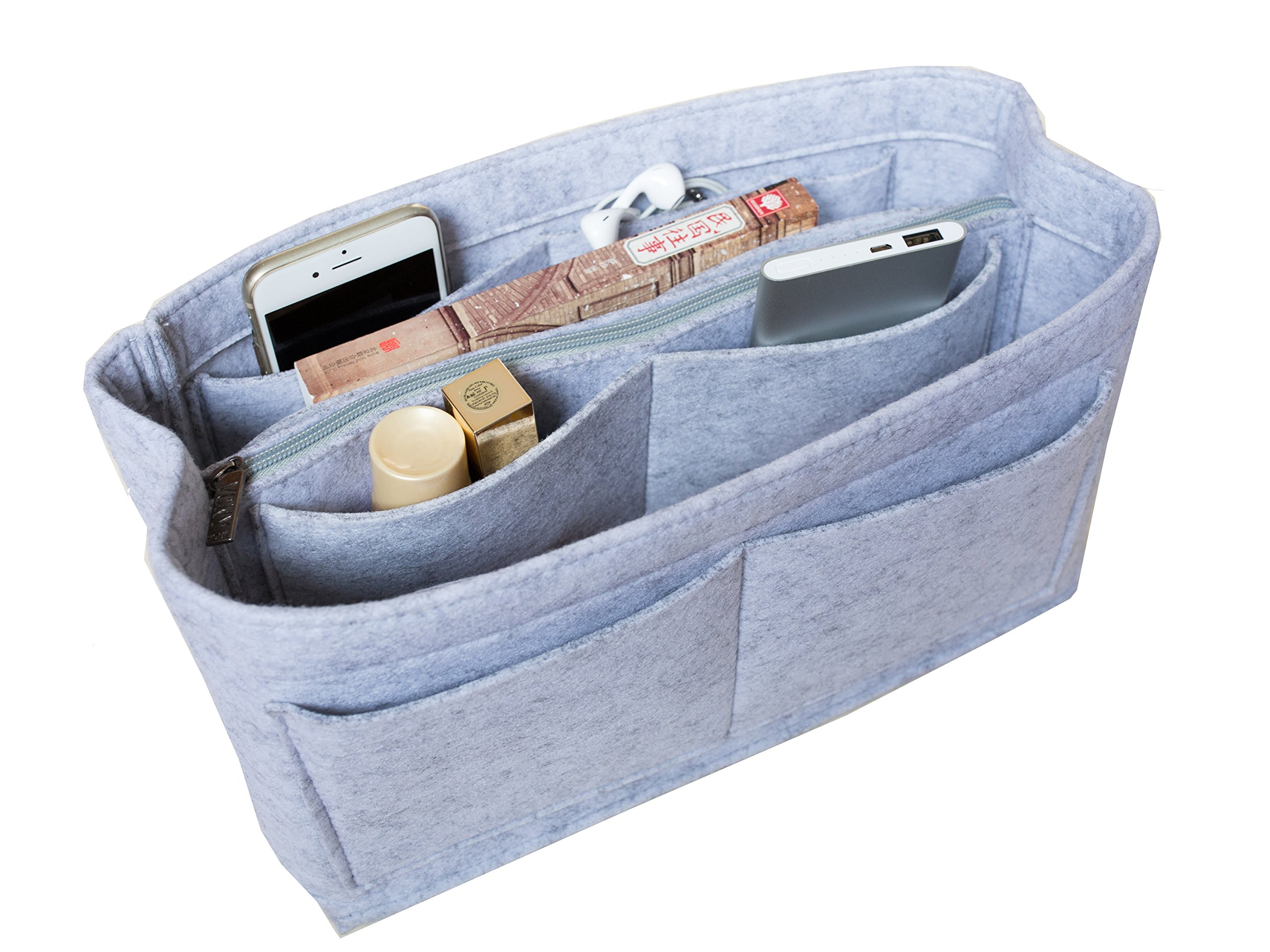 LUZEE Purse Organizer with Middle Zipper Fits Neverfull MM Speedy 30 In Bag Organizer For Handbag Tote (Light Grey)