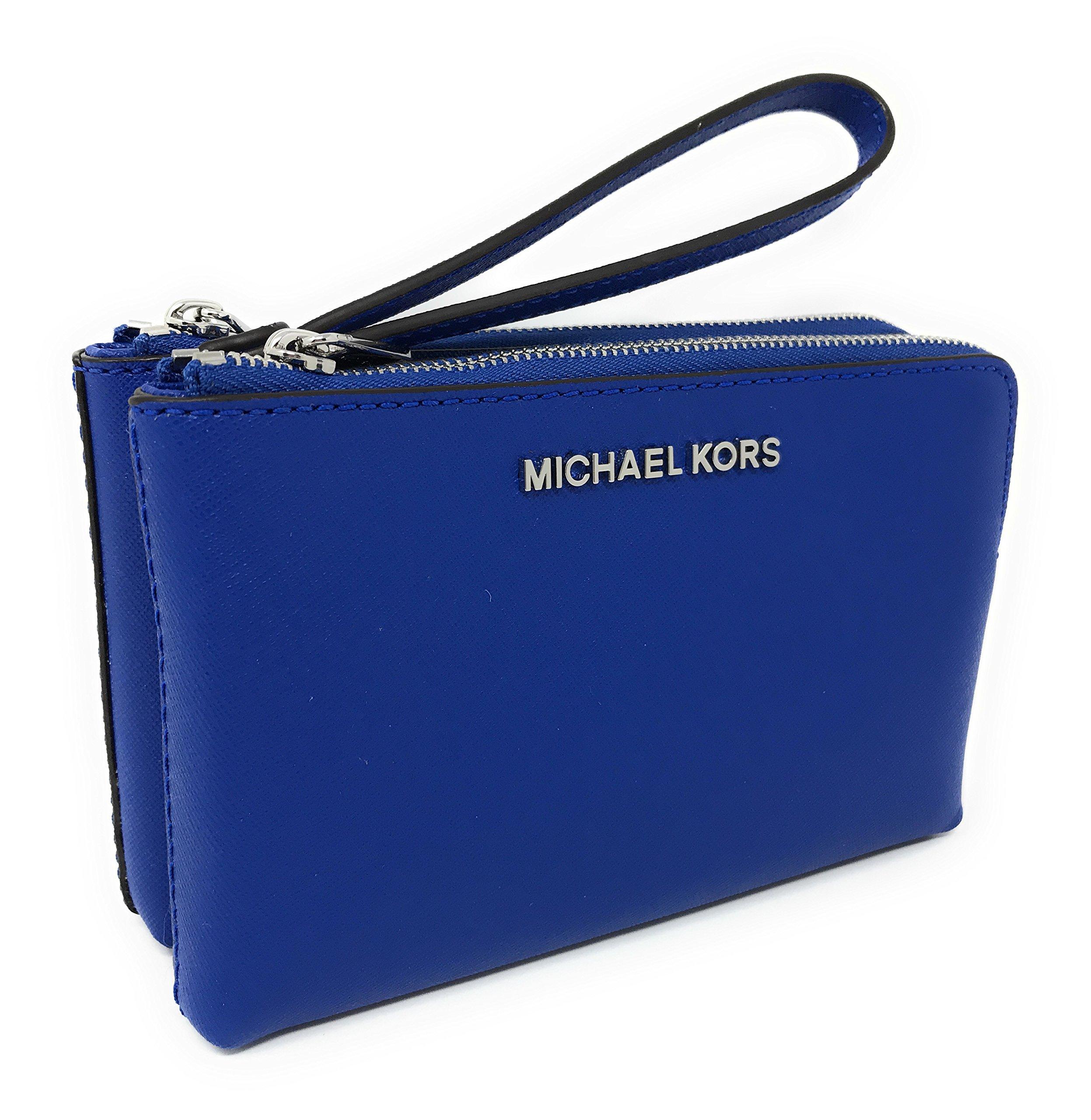 Michael Kors Jet Set Travel Large Double Gusset Wristlet Bag Purse (Electric Blue)