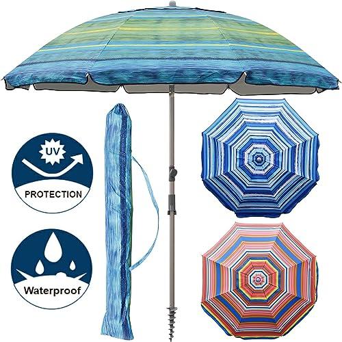 Blissun 7.2 Portable Beach Umbrella with Sand Anchor, Tilt Pole, Carry Bag, Air Vent Green