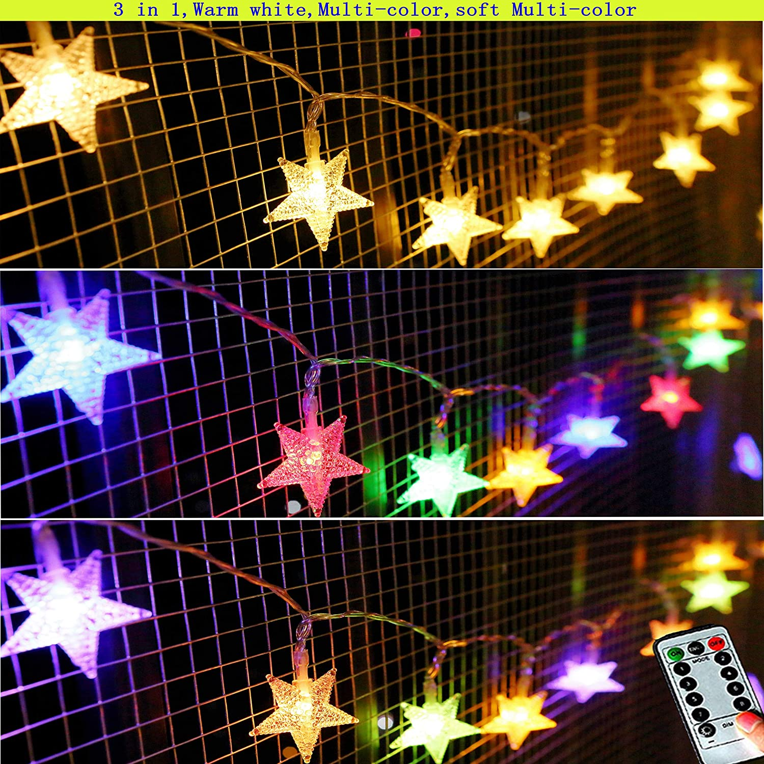 Darknessbreak 25Ft 50LEDs Warm White Color Changing Star Fairy Lights, 8 Modes Battery Power Star String Lights for Kid Tent,Bedroom Decorations,Wedding, Christmas, Halloween, Mother Day
