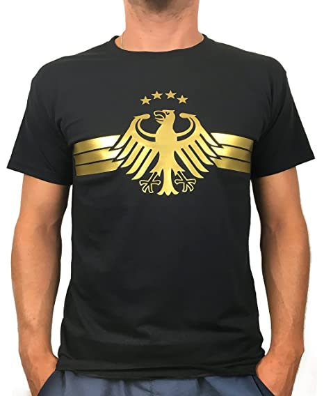 a5817c88a54b3e Artdiktat Herren T-Shirt - Deutschland Trikot Weltmeisterschaft 2018  Wunschname und -Nummer am Rücken - Adler Vier Sterne - Russia Russland  Fußball  ...