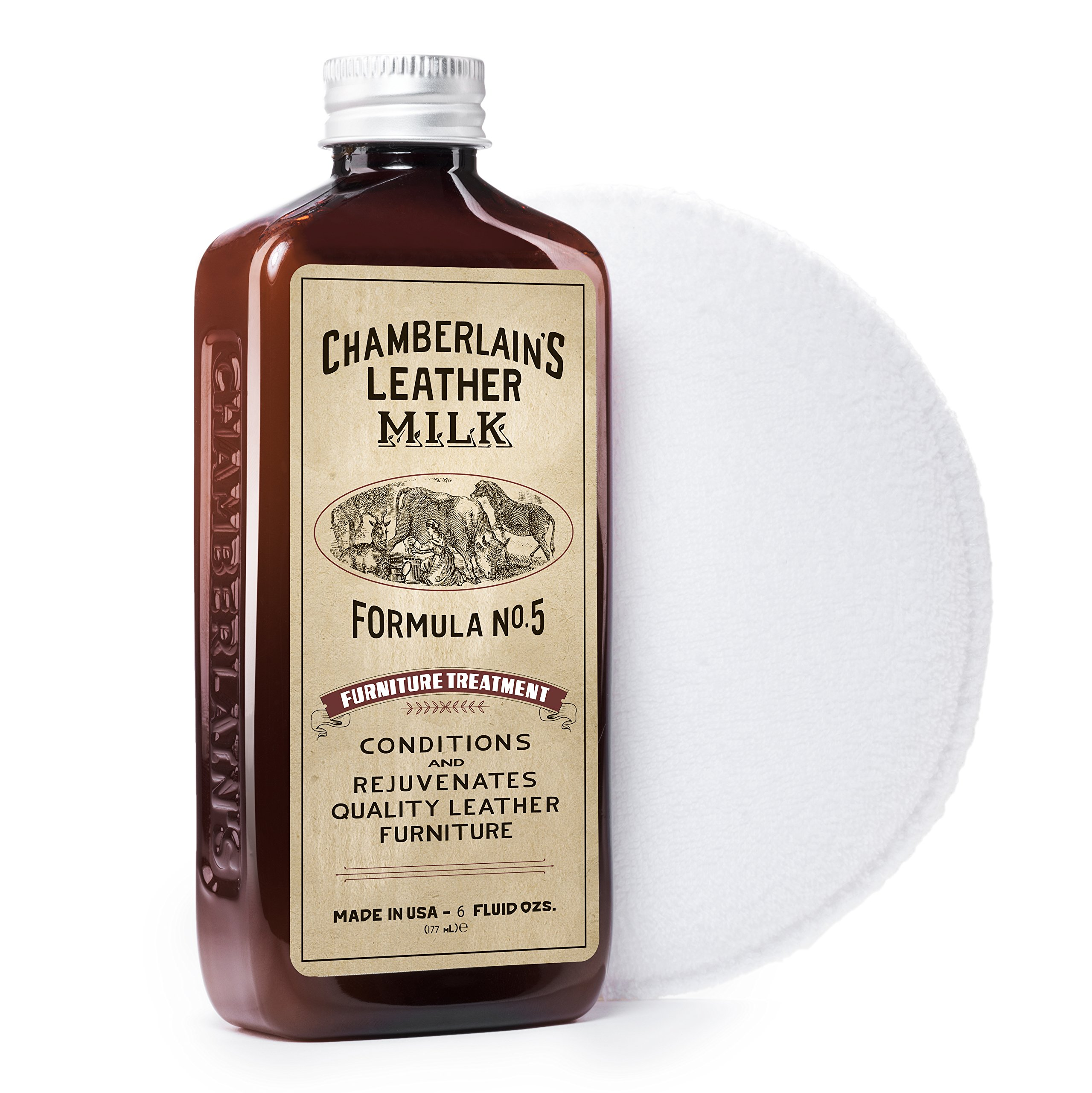 Leather Milk Leather Furniture Conditioner and Cleaner - Furniture Treatment No. 5 - For All Natural, Non-Toxic Leather Care. Made in the USA. 2 Sizes. Includes Premium Applicator Pad! by Chamberlain's Leather Milk (Image #4)