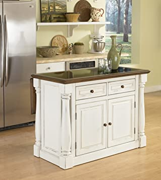 Home Styles 5021 94 Monarch Kitchen Island With Granite Top, Antiqued White  Finish