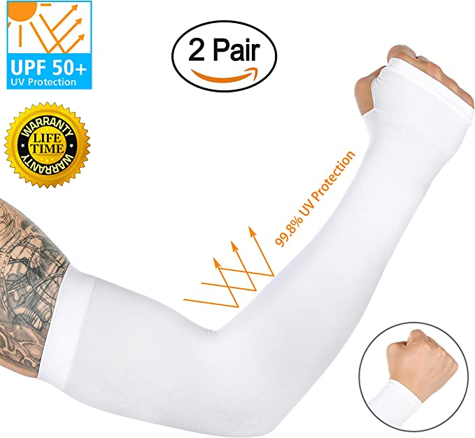 2pairs of set Cooling Arm Sleeves Cover Sun Protection Basketball Sports US SHIP