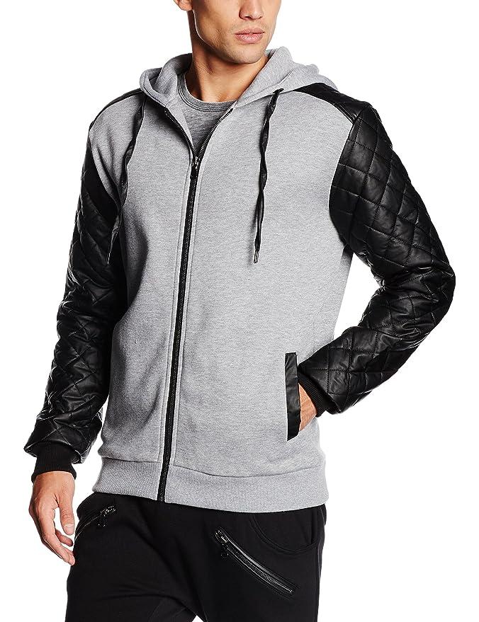 Urban Classics Herren Zip Hoodie Diamond Leather Imitation Sleeve Sweatjacke